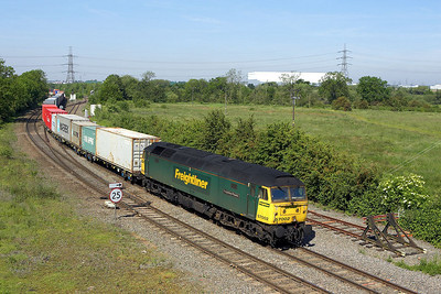 57002 is in charge of 4L93 1008 Lawley Street FLT-Felixstowe North at Whitacre Junction on 08/06/2006.