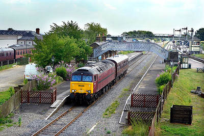 The sun failed to produce as 57601 passed through Quainton with 2Z01 0650 Stafford-Crewe via Acton Main Line on 29/06/2006, but the photo is included here as it is believed this was the first visit of a 57 to the route.