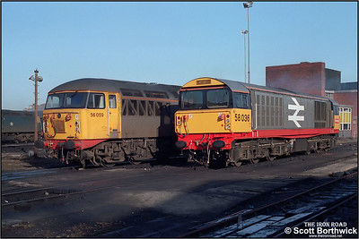 58036 and 56059 are stabled between duties at Saltley LIP on 06/03/1986.