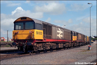 58003 and 58010 keep a pair of Class 20's company at Coalville Mantle Lane Sdgs on xx/06/1985.