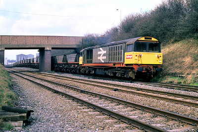 58044 takes the line into Rawdon Colliery at Moira West Jnct on 30/03/1988 with empties from Drakelow C Sdgs. Note the effect of mining subsidence in the area on the trackbed.