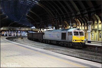 Website Caption 60066 runs through York with 6E97 1044 New Biggin British Gypsum-Tees Dock BSC Export Berth on 05/12/2019.