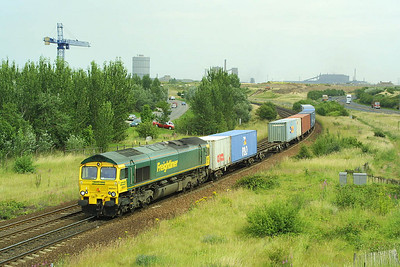 66541 is pictured passing Cargo Fleet with 4D07 1428 Wilton FLT-Leeds FLT on 09/07/2003.