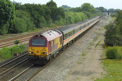 67003 speeds past North Stafford Jnct on 24/07/2004 with 1V15 0708 SO York-Paignton.