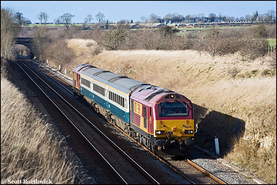 Late February 2008 saw crew training commence for  Wrexham, Shropshire & Marylebone Railway staff. 67017 and 67016 top & tail 5Z23 1401 Banbury-London Marylebone as they pass Fritwell on 26/02/2008.