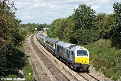 67014 'Thomas Telford' leads 1P13 1123 Wrexham General-London Marylebone approaching Aynho Jnct on 27/08/2009.