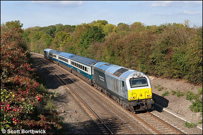 67013 'Dyfrbont Pontcysyllte' approaches Claydon with 1P13 1127 Wrexham General-London Marylebone on 13/10/2009.