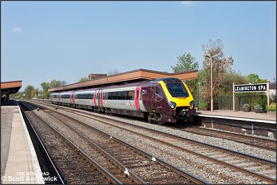 220007 restarts 1V80 1133 Birmingham New Street-Reading away from Leamington Spa on 17/04/2011.