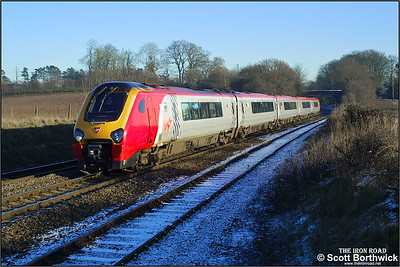 221111 'Roald Amundsen' approaches Whitacre Junction with a diverted Virgin Cross Country service for Plymouth on 05/01/2003.