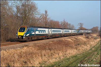 222012+222010 near Rotherby on 28/01/2006 with 1F24 1225 London St Pancras-Sheffield.