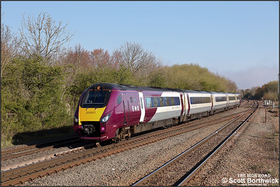222013 passes Syston whilst forming 1C22 0746 Sheffield-London St Pancras International on 19/04/2021.