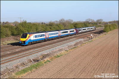 222103+222009 pass Cossington whilst forming 1B21 0704 Lincoln-London St Pancras International on 22/04/2021.
