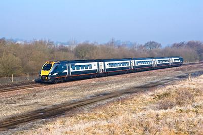222012 passes Finedon Sdgs on 18/02/2008 whilst forming 1B14 0807 Nottingham-London St Pancras International.