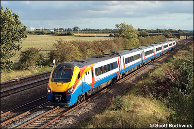 222002 passes Cossington whilst forming 1F38 1525 London St Pancras International-Sheffield on 01/10/2008.