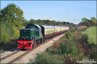 D9539 approaches Gotherington as it exits Dixton Cutting with the 1300 Toddington-Gotherington service on 19/10/2002.
