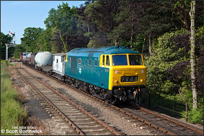 D7076 approaches Holt whilst working a short mixed freight on 11/06/2015. (Photo taken with camera mounted on a pole & remotely triggered)