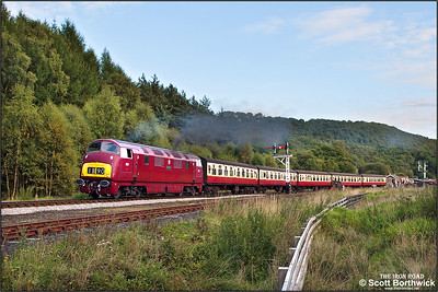D821 'Greyhound' makes a spirited departure from Levisham with 2G16 1709 Pickering-Grosmont on 14/09/2013.