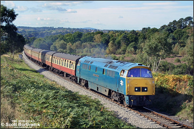 D1023 'Western Fusilier' approaches Foley Park Tunnel whilst in charge of the 1235 Bridgnorth-Kidderminster service during the 2002 SVR Autumn Diesel Gala on 04/10/2002.