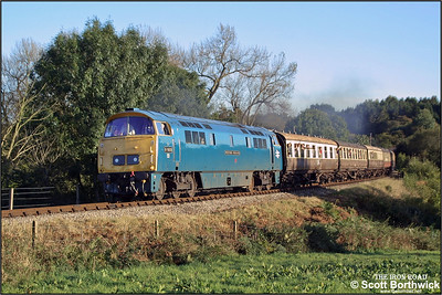 D1023 'Western Fusilier' passes Haye Bridge whilst in charge of the 1545 Kidderminster-Bridgnorth on 04/10/2002.