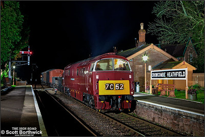 D1010 'Western Campaigner' masquerading as D1035 'Western Yeoman' arrives at Crowcombe Heathfield with a mixed freight from Minehead on 12/11/2011.
