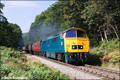 D1023 'Western Fusilier' storms up the bank at Beck Hole whilst working 2P69 1250 Grosmont-Pickering on 19/09/2009. Due to a points failure at Pickering the train terminated at Goathland.