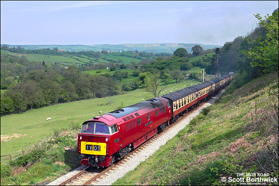D1015 'Western Champion' thrashes up the bank at Green End whilst working 2P65 1100 Grosmont-Pickering on 10/05/2008.