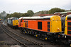Class 20 Diesel Locomotive number 20 314 at Barrow Hill Roundhouse with Class 37 Diesel Locomotive number 37 510 behind.<br /> 21st September 2012
