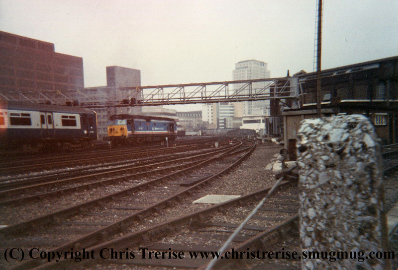 """Class 50 Diesel Locomotive number 50 050 named """"Fearless"""" performs a shunt release at London Waterloo prior to working the 0925 to Portsmouth Harbour.<br /> 10th November 1987"""