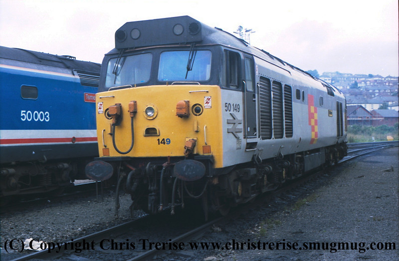 """Class 50 Diesel Locomotive number 50 149 named """"Defiance"""" is seen stabled at Plymouth Laira with 50 003 named """"Temeraire"""" behind.<br /> 1998"""