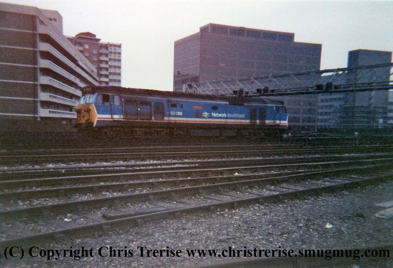 "Class 50 Diesel Locomotive number 50 050 named ""Fearless"" performs a shunt-release outside London Waterloo.<br /> 4th November 1987"