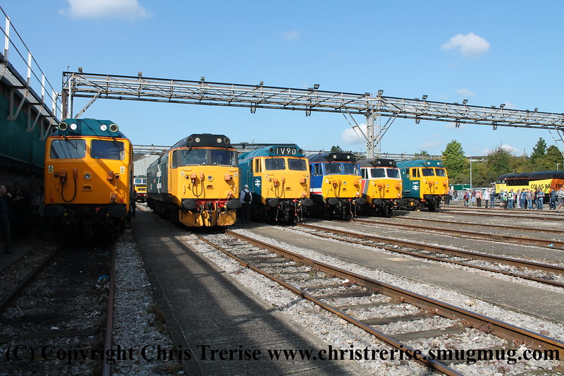 "Old Oak Common Class 50 line up, left to right - 50 050 ""Fearless"", 50 049 ""Defiance"", 50 044 ""Exeter"", 50 026 ""Indomitable"", 50 017 ""Royal Oak"", 50 007 ""Hercules""<br /> 2nd September 2017"