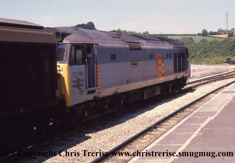 Class 50/1 Diesel Locomotive number 50 149 at Par with a goods working from St Blazey.<br /> 23rd June 1988