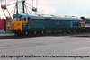 "Class 50 Diesel Locomotive number 50 050 named ""Fearless"" shunts exhibits at Old Oak Common, including 47 828, 47 813, D821, 50 026 ""Indomitable"", 50 007 ""Hercules""<br /> 1st September 2017"