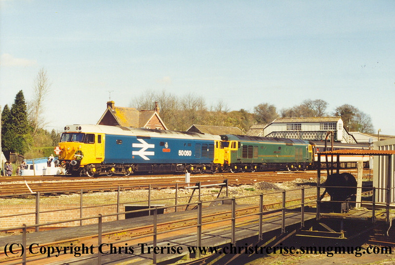 "Class 50 Diesel Locomotive number 50 050 named ""Fearless"" in multiple with Class 50 Diesel Locomotive number 50 007 named ""Sir Edward Elgar"" at Yeovil Junction with ""The Fifty Terminator"".<br /> 26th March 1994"