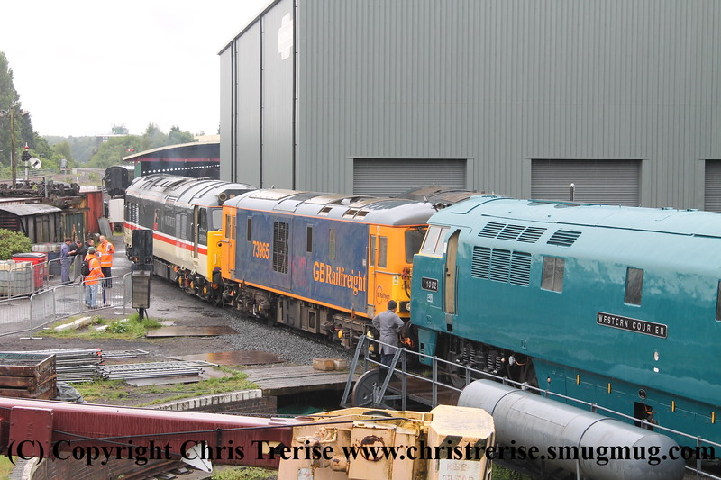 "Class 52 Western Diesel Locomotive number D1062 named ""Western Courier"" shunts at Kidderminster.  Class 73/9 number 73 965 and Class 50 number 50 031 named ""Hood"" also visible.<br /> 19th May 2017"