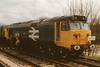 "Class 50 Diesel Locomotive number 50 031 named ""Hood"" stabled at Alton.<br /> 12th April 1993"