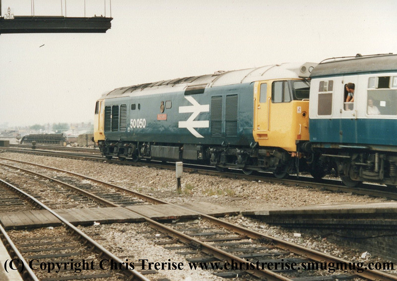 "Class 50 Diesel Locomotive number 50 050 named ""Fearless"" is seen at Reading.<br />  1987"