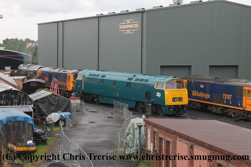 "Class 52 Western Diesel Locomotive number D1062 named ""Western Courier"" shunts at Kidderminster.  Class 73/1 number 73 107 ""Tracy"" and Class 73/9 number 73 965 also visible.<br /> 19th May 2017"
