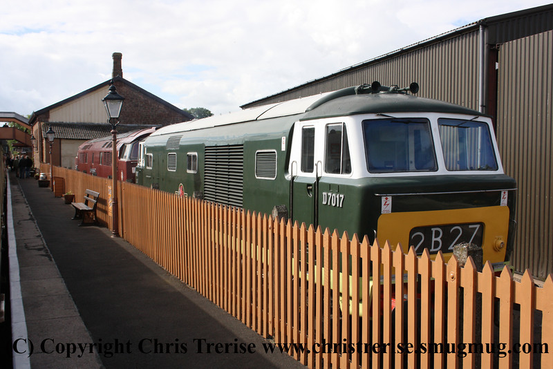 """Class 35 Hymek Diesel Hydraulic locomotive number D7017 at Williton with Class 52 Western Diesel Hydraulic locomotive number D1010 named """"Western Campaigner"""".<br /> 17th June 2012"""