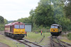 Class 56 Diesel Locomotive number 56 302 is seen running around at Bodmin Parkway prior to working the 1600 departure to Bodmin General. Class 60 Diesel Locomotive number 60 096 is seen stabled alongside.<br />  27th September 2014