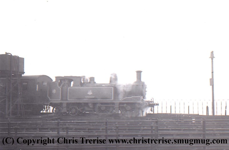 "O2 Steam Locomotive number W18 named ""Ningwood"" at Ryde Pier in 1952.<br /> Copyright Frank Spence."