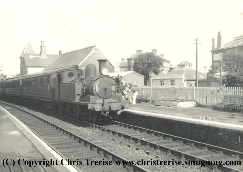 "O2 Steam Locomotive number W27 named ""Godshill"" at Shanklin in August 1965.<br /> Copyright Frank Spence."