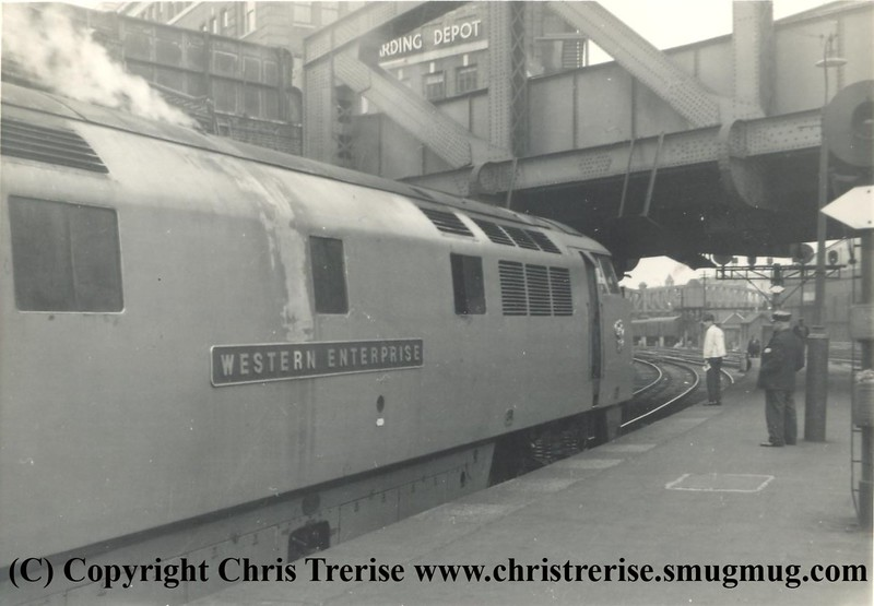 "Class 52 Western Diesel Hydraulic Locomotive number D1000 named ""Western Enterprise"" at London Paddington in 1963.<br /> Copyright Frank Spence."