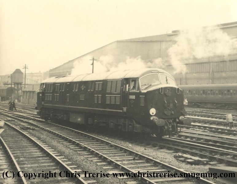 "Class 41 D6xx Diesel Hydraulic Locomotive number D600 named ""Active"" at London Paddington in 1958.<br /> Copyright Frank Spence"