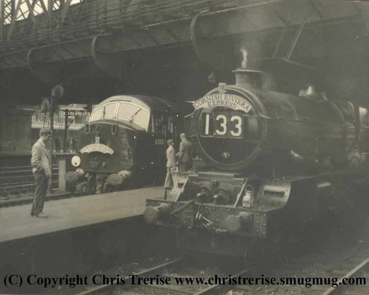"""Class 41 D6xx Diesel Hydraulic Locomotive number D600 named """"Active"""" at London Paddington in 1958 alongside unidentified steam locomotive.<br /> Copyright Frank Spence."""