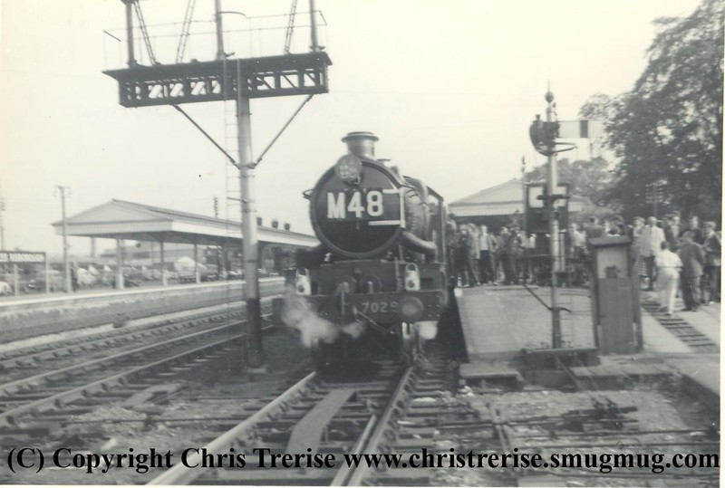 """Castle Class Steam Locomotive number 7029 named """"Clun Castle"""" on 11th June 1965 at Princes Risborough with the 1635 London Paddington to Banbury, the last scheduled steam working out of London Paddington.<br /> Copyright Frank Spence"""