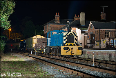 Modified with a cut down cab to enable it to pass under the low bridges when it operated on the Burry Port & Gwendraeth Valley line, 03119 stands at Ongar with a short PW train on 27/09/2014.