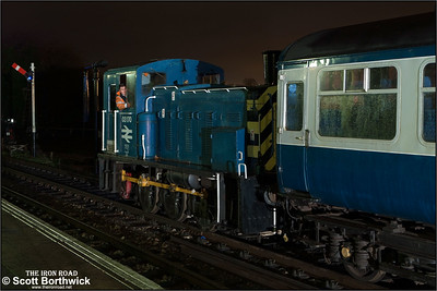 03170 shunts empty coaching stock at North Weald on 14/11/2015.