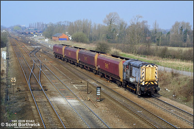 09201 is pictured at Milford Junction on 27/03/2003 with a Milford Sdgs-Knottingley trip working of HTA hoppers for repair.
