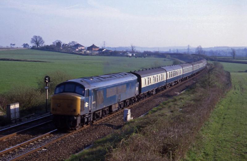 46014, up passenger, Willand, near Tiverton, 20-4-82.